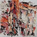 Luce - 2010 - 60x60cm - tecnica mista su tela:<br> acrilici, olio, carta, elementi vegetali.
