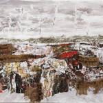 Paesaggio - 2010 - 70x50cm - tecnica mista su tela:<br> acrilici, olio, carta, sabbia, juta.