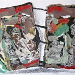 Pagine di storia - 2006 - 90x70cm - tecnica mista su carta:<br> carta, monotipo, china.