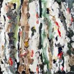 Percorsi - 2011- 100x80cm - tecnica mista su tela:<br> acrilici, olio, carta, elementi vegetali.