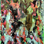 In-divenire - 2013 - 80x100cm - tecnica mista su tela:<br> acrilici, fotografia, stoffa, elementi vegetali.
